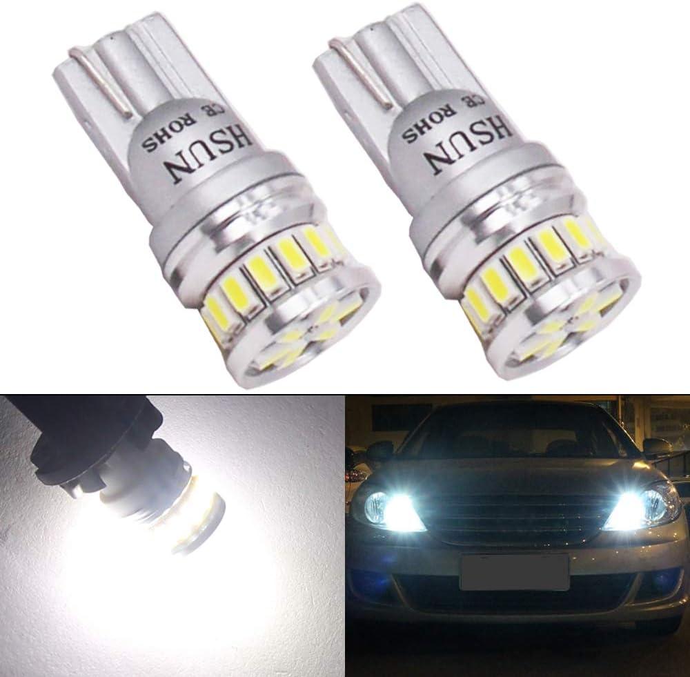 HSUN T10 501 194 LED,12V-24V de voltaje W5W 175 168 12961 extremadamente brillantes, sin errores, indicador lateral de coche,luz de lectura de domo interior,2 unidades,6000K blanco