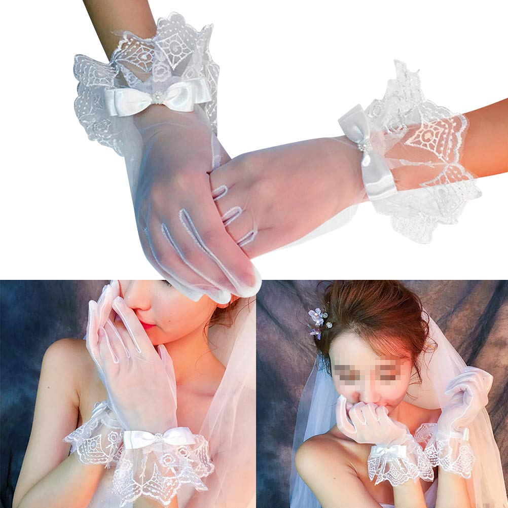 BESTOYARD 1 Paar Braut Hochzeit Handschuhe Spitzenhandschuhe f/ür Frauen Braut Blumenm/ädchen Hochzeit Abend Party Wei/ß