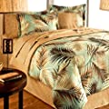 TROPICAL PALM TREE LEAF/LEAVES OCEAN BEACH Coastal Bedding 8 Pieces Comforter Set Bed in a Bag