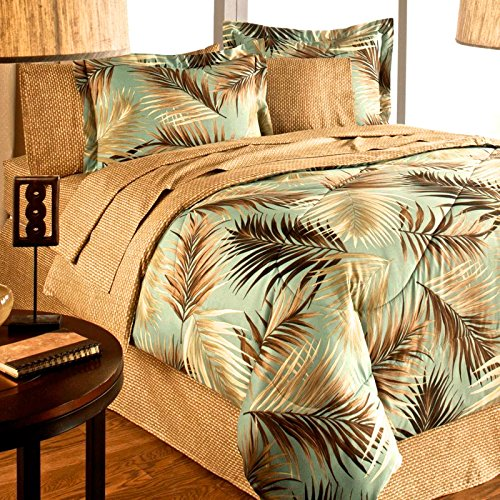 TROPICAL PALM TREE LEAF/LEAVES OCEAN BEACH Coastal Bedding Comforter Set Bed in a Bag (QUEEN SIZE) (Sets Bedding Tropical Queen)