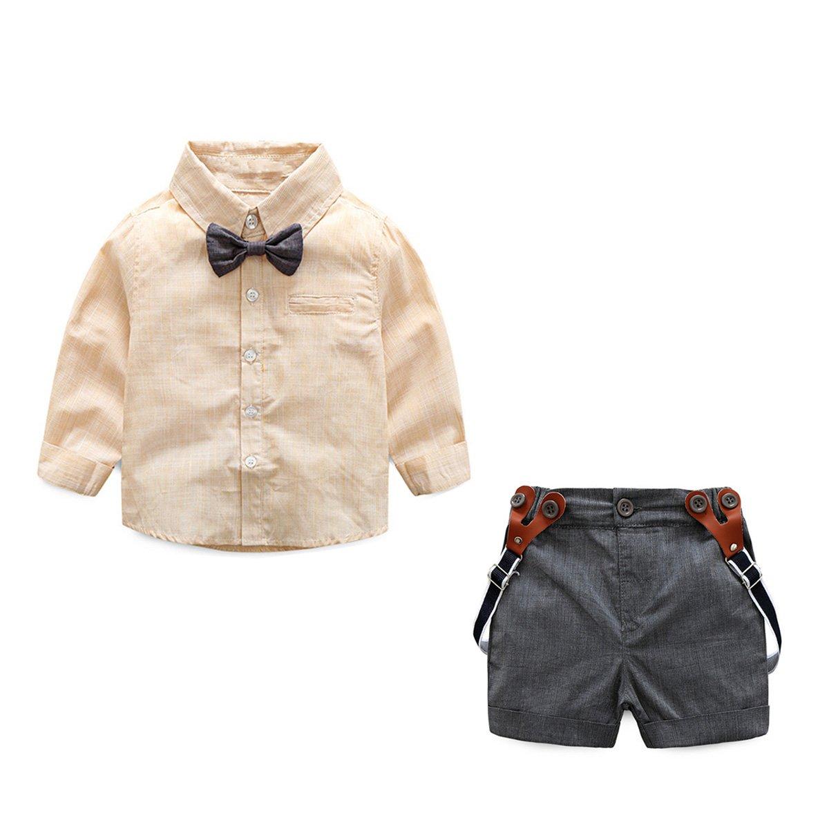 JIANLANPTT Summer Baby Boy Suspender Shorts Outfits Set Bowtie Shirt Wedding Outfits Apricot 6-12months