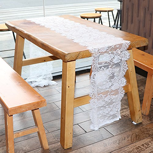 OurWarm 14in x 118in Vintage White Lace Table Runner for Rustic Boho Wedding Bridal Shower Decorations, Exquisite Embroidered Floral Table Runner