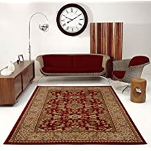 "Ladole Rugs Terra Red Cream Area Rug Oriental Traditional Design Rug for Hallway, Living Room and Dining Area (2'7"" x 4'11"")"