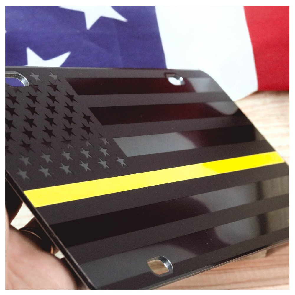 JASS GRAPHIX Firefighter Thin Red Line Subdued American Flag License Plate Matte Black on 1//8 Black Aluminum Composite Heavy Duty Tactical Patriot USA Car Tag