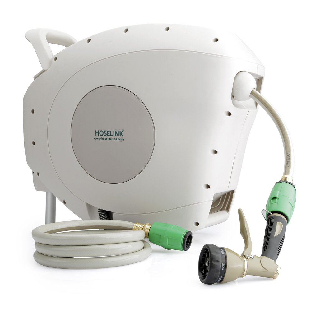 HOSELINK Automatic Retractable Garden Hose Reel with 7-Function Spray Gun, 82-Feet by HOSELINK