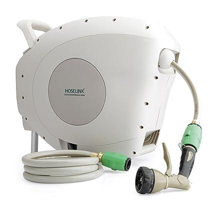 hoselink automatic retractable garden hose reel with 7 function spray gun 82 feet - Retractable Garden Hose Reel