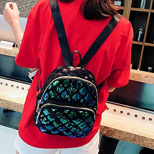 Girls School Rucksack Women Handbag PU Domybest Sequin Shoulder Zipper Green Backpack Shining Small BTvXYFq