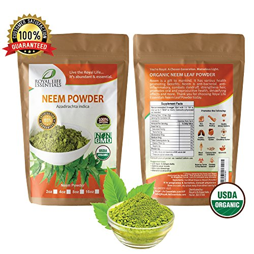 Organic Neem Powder Leaf 4oz Non GMO supplements for glowing skin, hair, nails, & supports digestion, anti-oxidant, supports healthy blood sugar, cholesterol, & more