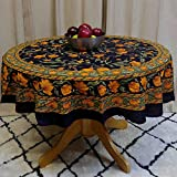 TC10904 - India Arts Tablecloth ~ Several Sizes Available ~ 100% Cotton (Black/Gold French Floral, 72'' Round)