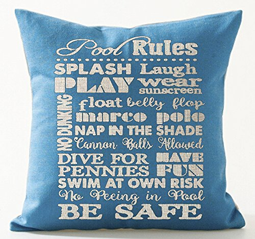 Warm Saying Pool Rules Splash Laugh Play Wear Sunscreen Be Safe Sky Blue Background Cotton Linen Decorative Throw Pillow Case Cushion Cover Square 18