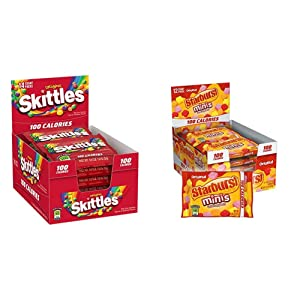 SKITTLES Original Candy 100 Calorie Pack, 0.9 Ounce 14-Count Box & STARBURST Minis 100 Calories Original Fruit Chew Candy .95-Ounce Bag (Pack of 12)