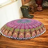 Mandala Peacock Multi Floor Cushion Handmade Meditation Pillow Cotton Sitting Daybed Cover