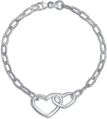 Lovely Heart 925 Sterling Silver Chain Bracelet .925 Fine Jewelry