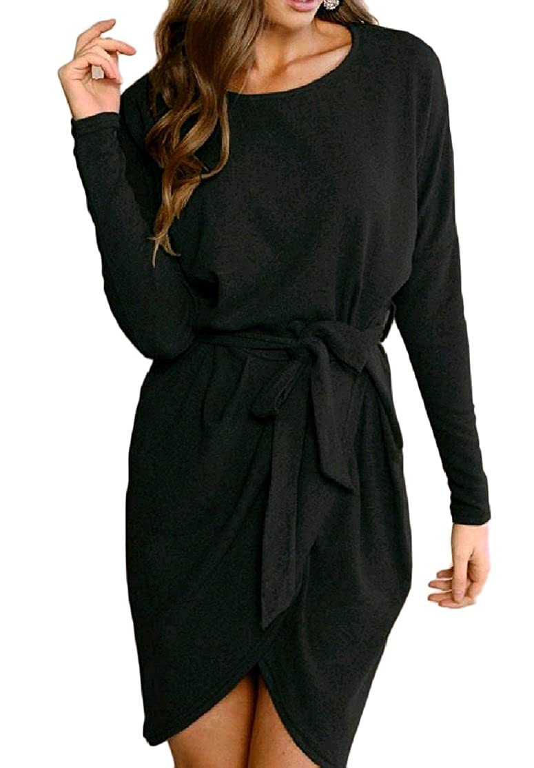 CrazyDayWomen CrazyDay Womens Asymmetrical Straps Long-Sleeve For Office Wear A-Line Midi Party Dress