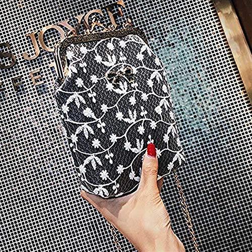 Pu Chica Eeayyygch Bolso Cadena Rosa La Cuero De Del color Hombro Ocasionales Teléfono Móvil Tamaño Negro Metal Mujeres Plata Mensajero Bolsas Punta Las F6F0qw