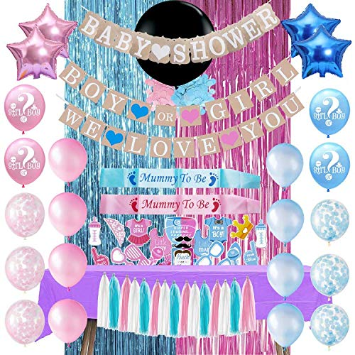 Gender Reveal Baby Shower Decorations | ALL-IN-1 MEGA Bundle! | Pink & Blue Set | Discount Direct Baby Shower Decorations - With Table Cover for Party | Pink & Blue Foil Curtains, Confetti, Latex, Star Shaped &