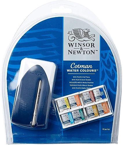 Winsor & Newton Cotman - Set Mini Plus de 8 medio godets de acuarelas: Amazon.es: Oficina y papelería