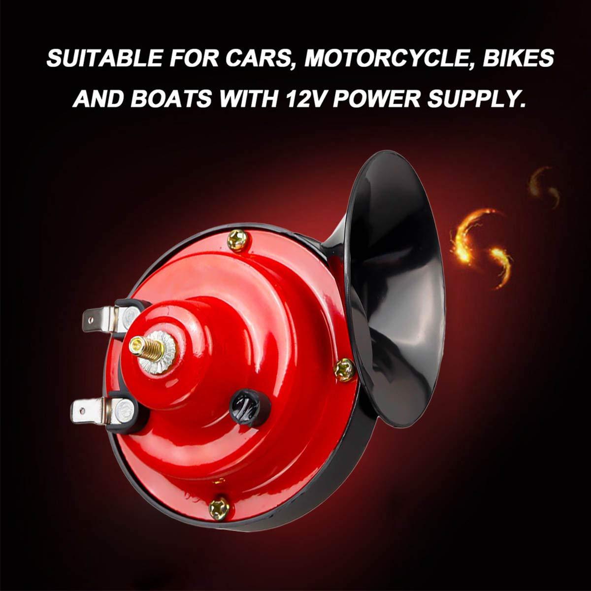 1 Pair ShineTool Car Vehicle Auto Horn Dual-tone Snail Car Horn Universal Electric Air Horn 12V 130db for Cars Truck Motorcycle