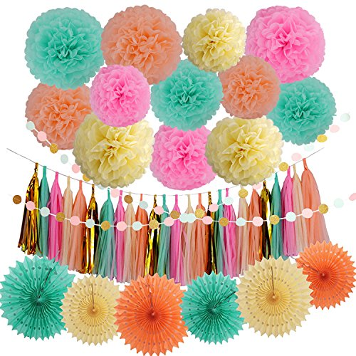 LyButty 45 Pcs Party Supplies Decorations Kit,Tissue Paper