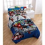 4 Piece Marvel Superhero Avengers Halo Patterned Reversible Kids Sheet Set Twin Size, Featuring Ironman Hulk Captain America Thor Bedding, Superheroes Bed In A Bag Modern Stylish Design, Unisex, Blue