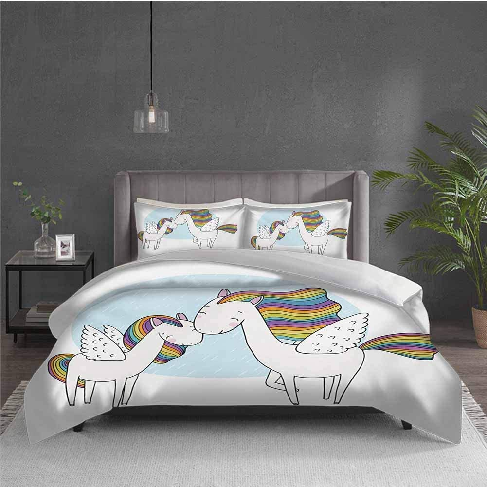 GUUVOR Unicorn 3-Pack (1 Duvet Cover and 2 Pillowcases) Bedding Pegasus Horses with Manes in Rainbow Colors and Wings Sweet Mythological Kids Tale Polyester (Twin) Multicolor