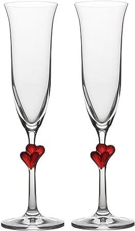 Elegantes copas para vino espumoso con corazones rojos incrustados, una opción ideal de regalo para
