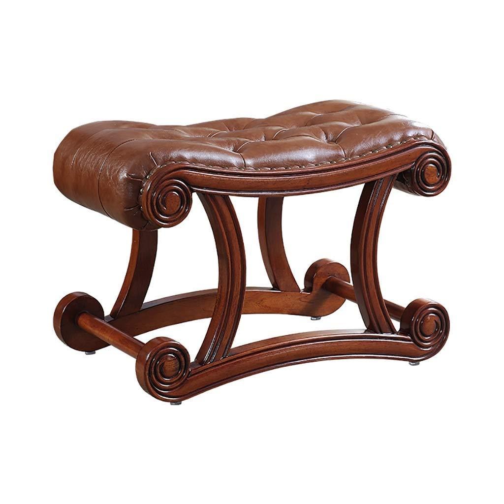 居間のための独特で創造的な滑り止めのゴム製木製の靴のベンチ、入口、ドア、レトロの旧式な茶色のオスマンの靴のベンチ、アメリカの純木の革ソファーのスツールのフットスツール、 (Size : L)  Large