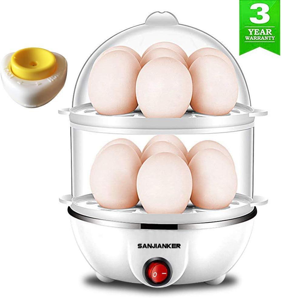 Stainless Steel Cream Electric Egg Cooker Boiler Poacher /& Steamer Fits 6 Eggs
