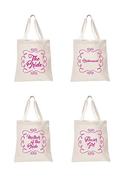 ae7808a72 Amazon.com  4 x Sets Natural Bridal Pink Printed Wedding Favour Tote Bags  bride hen party gift sets The Bride