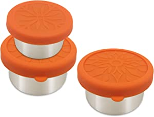 UPTRUST Leak Proof Stainless Steel Dips Condiment Containers with Silicone Lids - Set of 3 - Mini Condiment Cups for Portions control-Salad dressing containers TO GO, BPA Free(2x3oz+1x1.5oz).