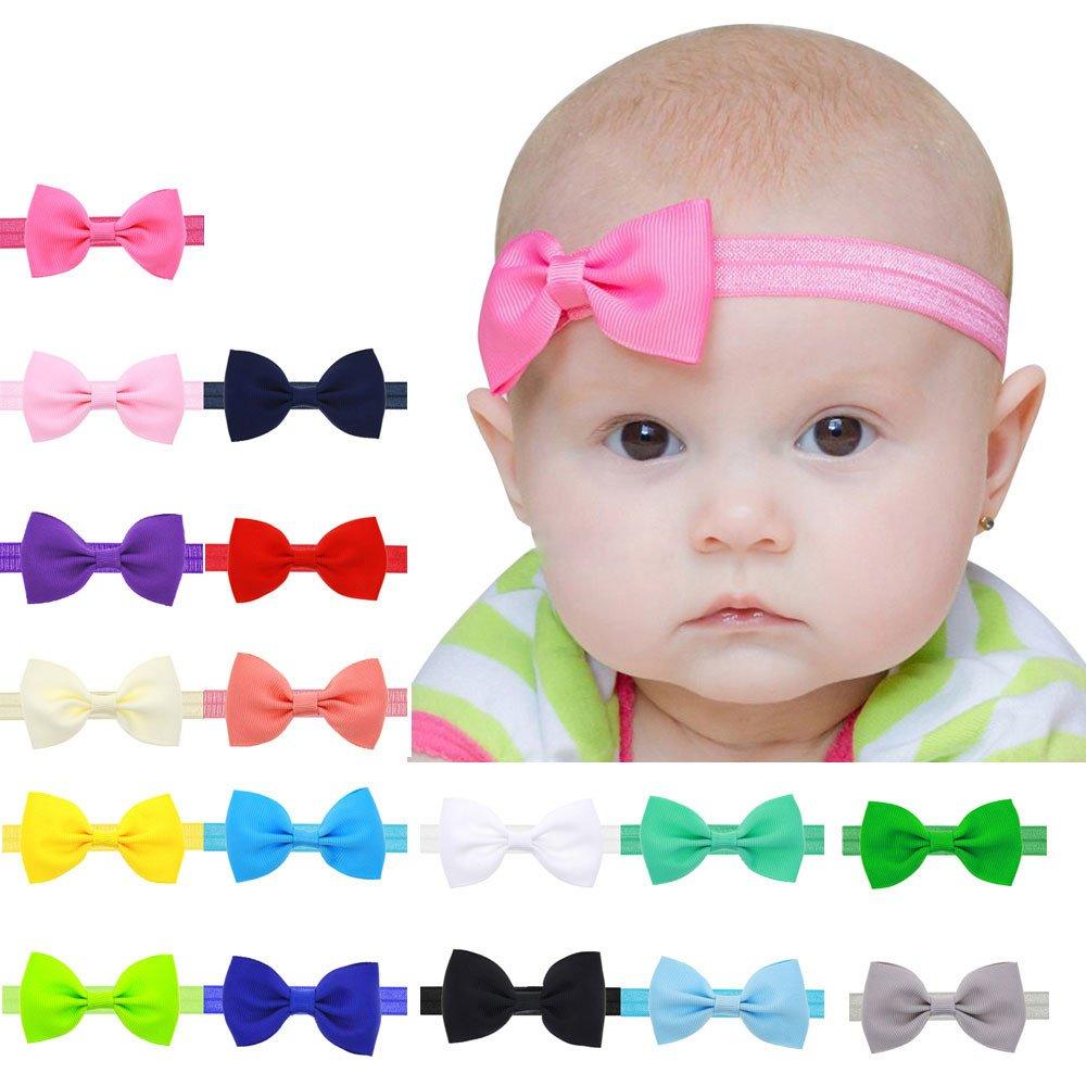 Yistu 17 pcs Bebé niños niñas Bowknot Mini diadema elástica venda product image
