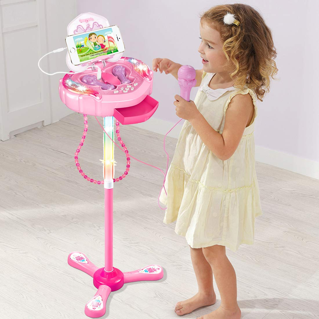 Anpro Kids Karaoke Machine with 2 Microphones & Adjustable Stand, Microphone Music Toy Play Set Music Player Best Birthday Gift for Kids by Anpro (Image #2)
