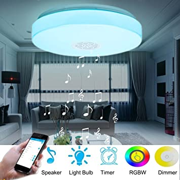 ceiling lamp with bluetooth speaker smart app control music led ceiling light 24w rgbw dimmable round ceiling lamp with bluetooth speaker smart app control music led      rh   amazon com