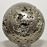 "48mm Pyrite Sphere Sparkling Crystal Druzy Cubes Polished Ball Natural Quartz Mineral Stone ""Fool's Gold"" - Peru + Plastic Stand"