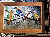 Birds Stained Glass mosaic window Art Sun catcher 20'' x 14''