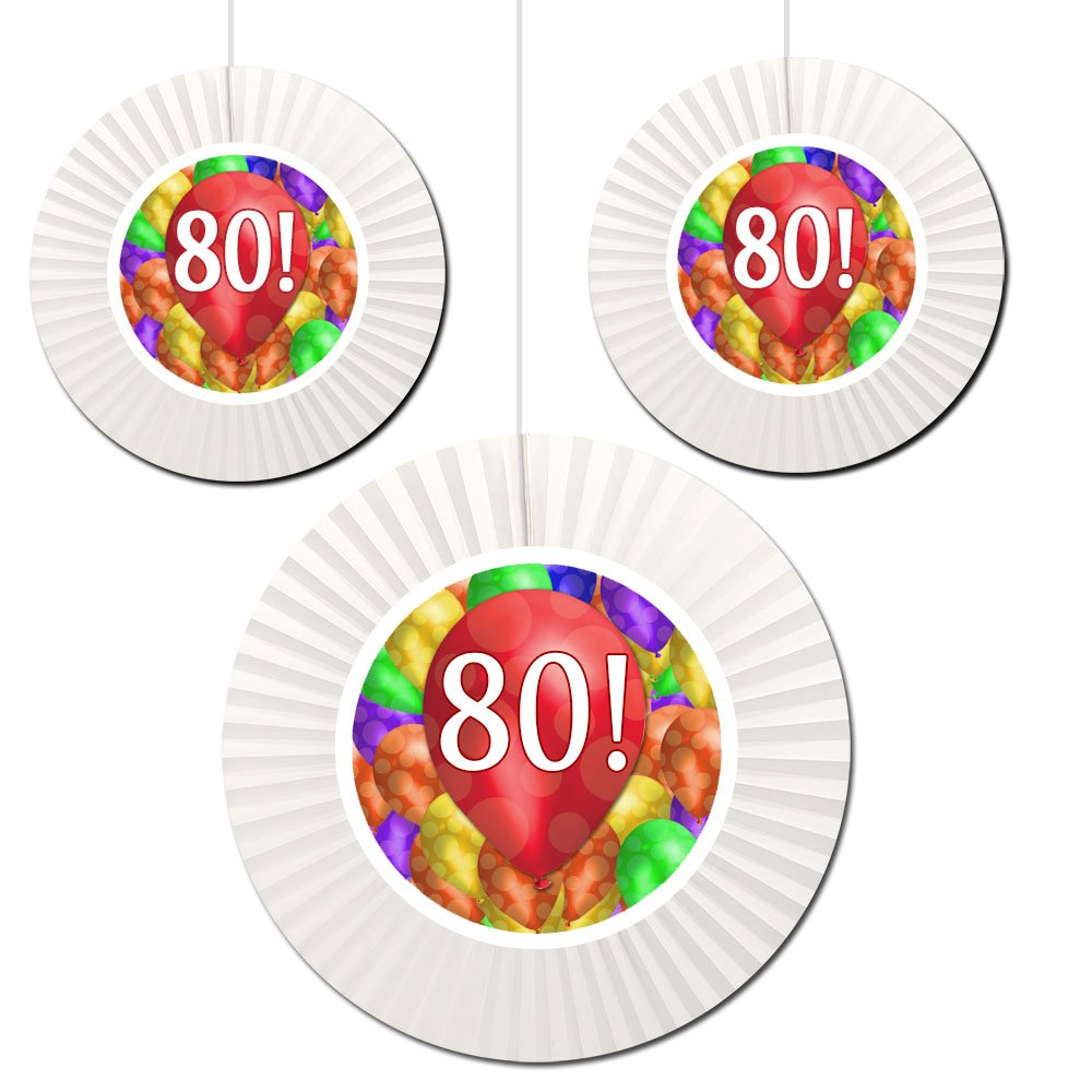 Partypro 80TH BIRTHDAY BALLOON BLAST FAN DECORATIONS (3 COUNT -1-16 INCH AND 2-12 INCH) by