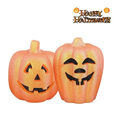 DRomance Halloween Pumpkin Flameless Flickering Candles Battery Operated with 6H Timer, Set of 2 Orange LED Pumpkin Skull Candles Halloween Home Decoration(Pumpkin with Head): Home Improvement