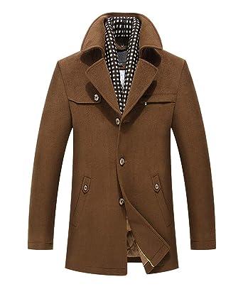 on sale 84f6a 2531c LISUEYNE Herren warm Wollmantel Kurzmantel Wolle Winter ...