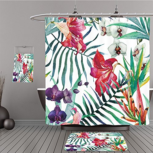 Mini Overhead Door (Uhoo Bathroom Suits & Shower Curtains Floor Mats And Bath Towels 271241810 watercolor, tropical, pattern, wallpaper, background, birds of paradise, orchids, lilies, palm leaves, flowers For Bathroom)
