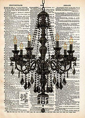 - Chandelier art print, vintage french romantic decor on dictionary page