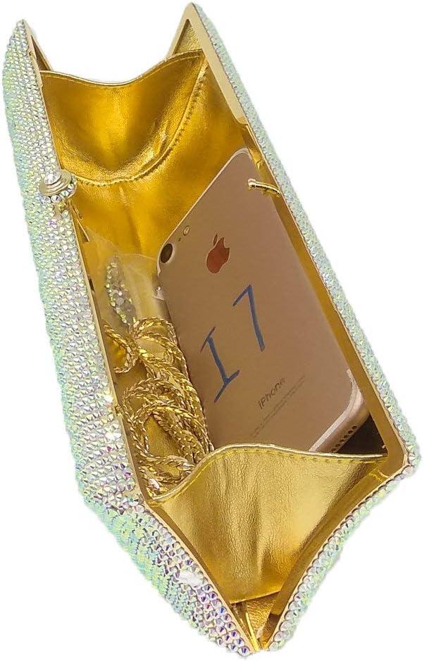 XLJJB Elegante Borsellino da Sera in Cristallo Argento da Donna con Borsa E Borsetta A Forma di Diamante 19