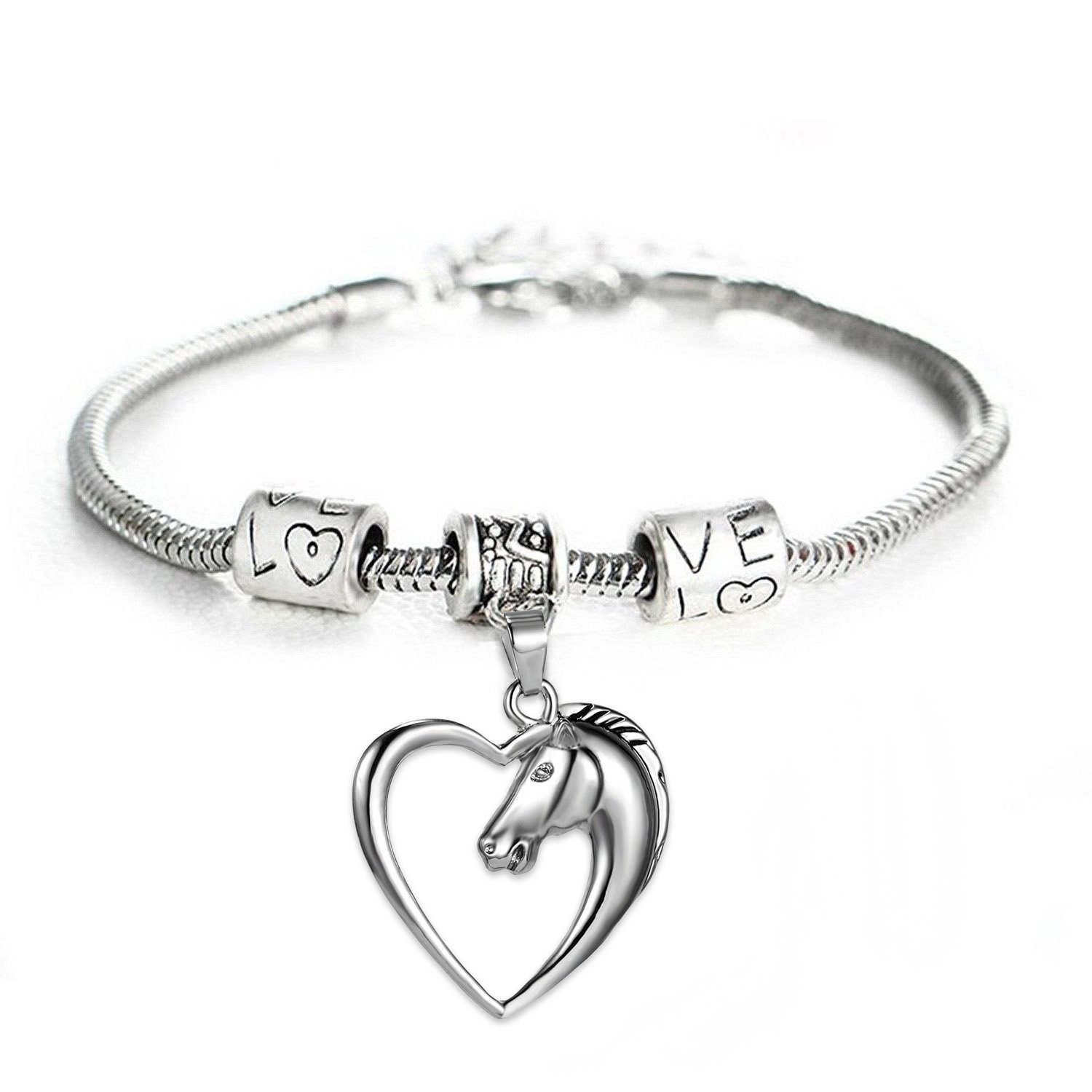 GlobalJewels Heart Horse Bracelet - Best Gift for Mother, Sister, Brother, Friends, Birthdays and Anniversaries