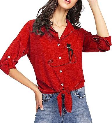 feiXIANG❤ Camisa de Dobladillo Anudada de Gato con Bordado de Mujer Blusa de Manga Larga con Blusa Fiesta Blusa Mujer Talla Grande Blusa Mujer Manga Larga: Amazon.es: Ropa y accesorios