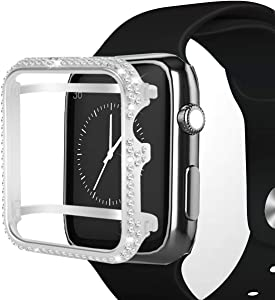 Hiseanllo Compatible with Apple Watch Case 38mm iWatch Bumper Protective Cover Crystal Rhinestone Bezel only for Apple Watch Series 3 Ceramic Edition (Sliver, 38mm)