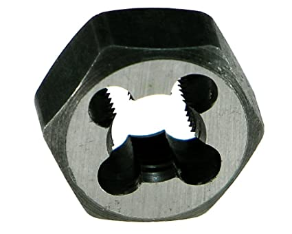 Bright Finish 1//4-28 UNF 19//32 Width Uncoated Drillco 3300E Series High-Speed Steel Hexagon Threading Die