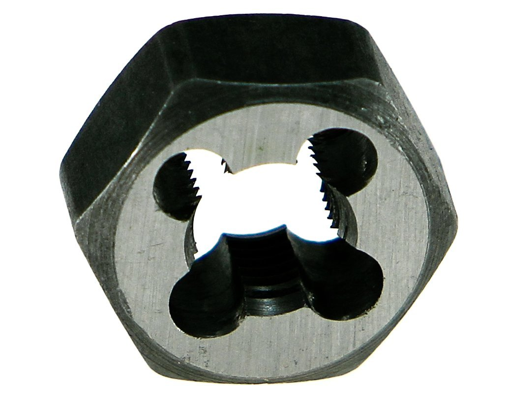 Drillco 3360E Series Carbon Steel Hexagon Rethreading Die, Uncoated (Bright) Finish, 1-1/16 Width, M12 x 1.5