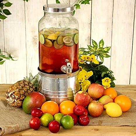 Mason Jar Bebidas Dispensador con cubo de hielo soporte 176 oz / 5ltr - Vino y