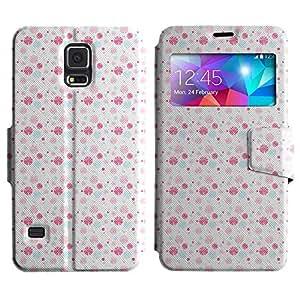 Be-Star Diseño Impreso Colorido Slim Casa Carcasa Funda Case PU Cuero - Stand Function para Samsung Galaxy S5 V / i9600 / SM-G900F / SM-G900M / SM-G900A / SM-G900T / SM-G900W8 ( Pink Pattern )