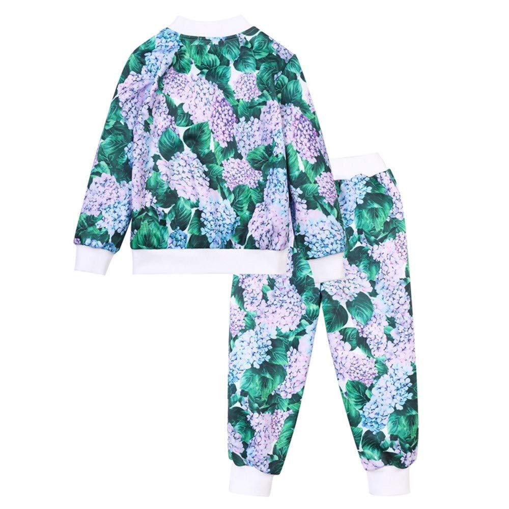Lifestyler Fashion Kids Girls Clothes Set Floral Print Zipper Tops Coat Pants Outfits