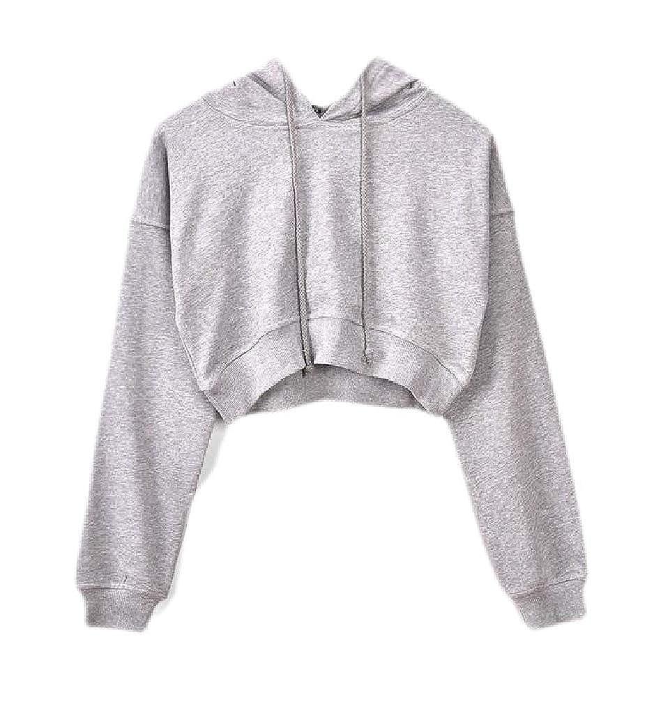 Smallwin Womens Long-Sleeve Hoodie Pullover Crop Top Solid Sweatshirts